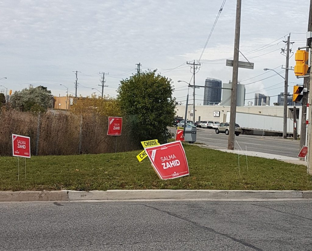Political signs litter neighbourhoods across Toronto on the 4th day after the federal election and in violation of city sign bylaws.